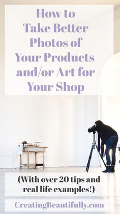 Learn how to take better photos for your Etsy shop. Tips for both is for makers & artists, this will help you see what a great photo looks like & how to...