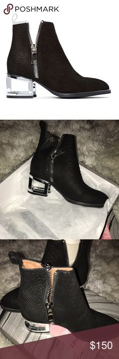 """Jeffery Campbell Boone Boots Size 7 The Boone Bootie. It has functional zipper detailing, black exterior, and metallic cutout heel with structural design. Super comfortable. Pair it with anything from a wrap dress to cuffed mom jeans. Get your art walk on. By Jeffrey Campbell. Size 7. I'm a 7 1/2 and it fits me fine. Brand new never worn comes in box. Cheaper on ♏️erc  *Genuine leather upper, Synthetic sole  *Height: 8""""/20cm  *Heel Height:2/5cm  *True to size  *No trades Jeffrey Campbell…"""