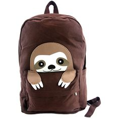 Sleepyville Critters - Peeking Baby Sloth Canvas Backpack Just look at that baby sloth face! This warm brown baby sloth backpack is inviting, unique, and special. Cute Baby Sloths, Cute Sloth, Brown Babies, Backpack Straps, My Spirit Animal, Canvas Material, Cute Babies, Sloth Stuff, Canvas Backpacks