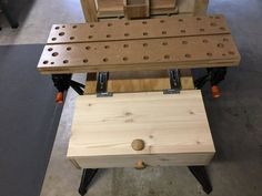 """Ok before anyone says this looks like something the Professor on Gilligans Island would do, I'd have to agree. In my shop I don't have a traditional woodworking bench. I have a Craftsman work bench from Sears that I've """"upgraded"""" and I also use a . Woodworking Basics, Woodworking Store, Woodworking As A Hobby, Woodworking Bench, Custom Woodworking, Workshop Bench, Home Blogs, Dining Table Design, Home Projects"""