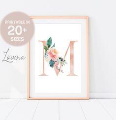 Letter M Print Blush Pink Floral Letters Alphabet Print | Etsy Highland Cow Print, Flamingo Art, Alphabet Print, Palm Tree Print, Floral Letters, Tropical Art, Art Prints Quotes, Printable Wall Art