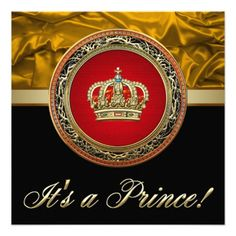 Regal Red and Gold Prince Baby Shower Invitations
