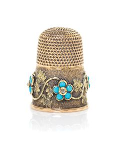 Victorian gold and turquoise thimble