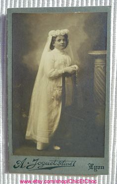 Antique French CDV Photo - Girl in a Confirmation Gown (A. Joguet, Lyon, France) by ChicEtChoc on Etsy