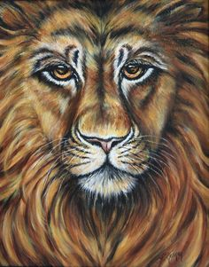 Lion painting acrylic on canvas by LSMSTUDIOS on Etsy, $135.00