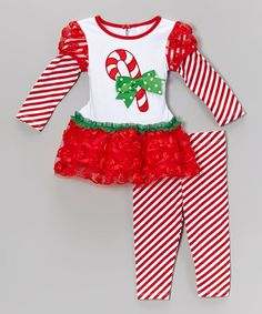 This Red Candy Cane Ruffle Tunic & Leggings - Infant, Toddler & Girls by Youngland is perfect! #zulilyfinds