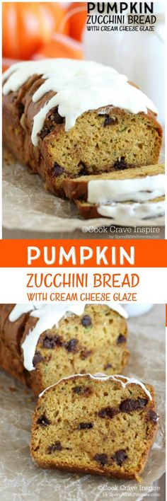 Moist Pumpkin Zucchini Bread with Cream Cheese Glaze!  The perfect way to enjoy zucchini from your garden!  This bread is perfect for breakfast or dessert!