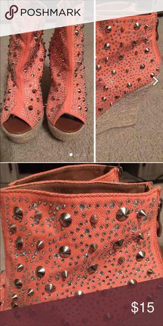 STUD WEDGES SIZE 8 1/2 Woman's studded wedges size 8 1/2. 3 to 4 inch heel. Canvas like material. Gently use Shoes Wedges