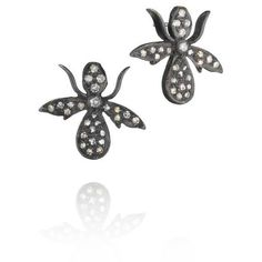 Madstone Raging Bee Studs (360 AUD) ❤ liked on Polyvore featuring jewelry, earrings, black, honey bee earrings, 18k earrings, stud earrings, 18k jewelry and bee jewelry