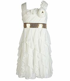 My Michelle 716 Cascade Ruffle Chiffon Dress @ Dillards(7-16); also available in red
