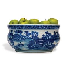 """Summer Palace Basin Bowl A hand painted centerpiece in a classic blue and white porcelain. We love this super high quality piece and it will look striking in your home. Use it to display your orchids, or with a dash of color withfresh fruit. 13""""W x 7""""H  $225"""