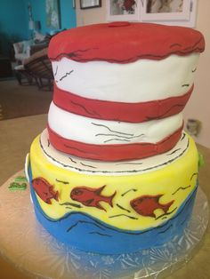 Side view of Dr. Suess cake