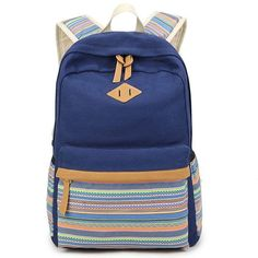 0fb0e251453b Leisure Folk Colorful Stripes Design Student Bag Striped Totem Travel  Canvas School Backpack