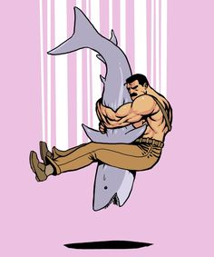 Haggar piledriving a shark. #awesome #geeky #videogame #funny #pink