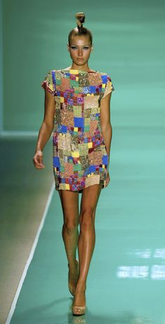 Multi color hand beaded Madras patchwork mini shift dress from Marc Bouwer NYC Fashion Week
