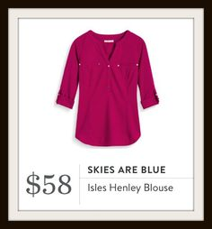 Isles Henley Blouse by Skies are Blue from Stitch Fix   See what else my stylist sent in my February 2017 Stitch Fix box.