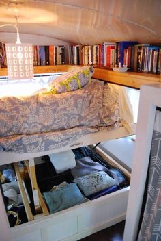 4 Genius Small Space Solutions to Steal from a Home in a School Bus is part of Small home Solutions - As the tiny house movement grows, so does the need for storage Bus Living, Tiny House Living, Cozy House, Small Living, Living Rooms, Rv Storage Solutions, Small Space Solutions, Closet Solutions, Storage Hacks