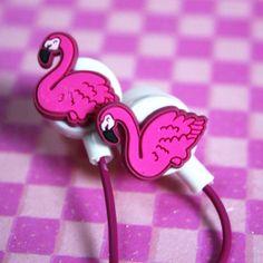 ★ Ecouteurs flamant-rose