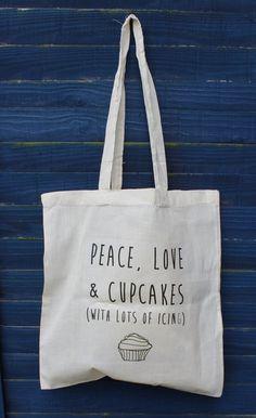 Peace, Love & Cake love tote bag via Etsy