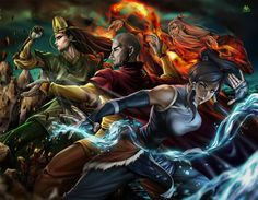 Avatar Roku, Kyoshi, Aang and Korra (wow credits to the artist ) Avatar Aang, Avatar Airbender, Avatar Legend Of Aang, Team Avatar, Avatar Cartoon, The Legend Of Korra, Avatar Fan Art, Avatar Picture, The Last Avatar