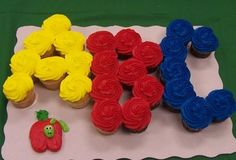 ABC cupcakes .... kindergarten party? Or use for a graduation party with UNL and red and white frosting
