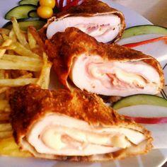 Sajttal és sonkával töltött csirkemell Cake Recipes, Chicken Recipes, Bacon, Recipies, Food And Drink, Mexican, Lunch, Cooking, Breakfast