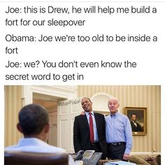 funny Joe Biden memes with Obama Joe And Obama, Obama And Biden, Joe Biden, Obama Meme, Trump Meme, Political Memes, Funny Politics, Lol, Just For Laughs