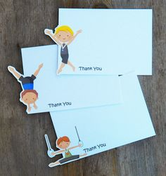 Gymnastics Party - Set of 8 Assorted Gym Boy Thank You Cards by The Birthday House. $8.00, via Etsy.
