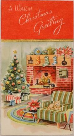 #1493 60s Kitty Cat by the Hearth- Vintage Christmas Greeting Card