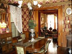 Antique Victorian Portiere | View from dining room toward living room in front of house.