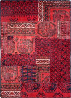 Red Patchwork Persian Rug 4u0027 8