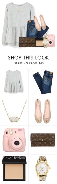 """""u took a Polaroid of us""//emma"" by preppy-southern-gals ❤ liked on Polyvore featuring MANGO, American Eagle Outfitters, Kendra Scott, Kate Spade, Louis Vuitton, NARS Cosmetics, A B Davis, women's clothing, women and female"