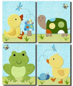 In the Pond duckies Set of 4 paper prints bedding decor for Tiddliwink kids room