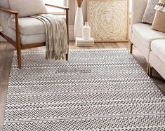 Gracie Oaks Capen Southwestern Cotton Black/Cream Area Rug Rug Size: Rectangle x Cotton Texture, Cream Area Rug, Rectangular Rugs, Online Home Decor Stores, Woven Rug, Colorful Rugs, Rugs On Carpet, Rug Size