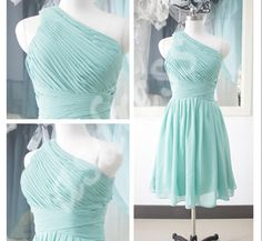Elegant Turquoise Short Bridesmaid Dress One Shoulder by ASDRESS, $89.00