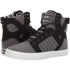Supra Skytop (Black/Black/Grey/White) Men's Skate Shoes ($110) ❤ liked on Polyvore featuring men's fashion, men's shoes, men's sneakers, mens black leather sneakers, mens white leather shoes, mens grey shoes, mens leather sneakers and mens black sneakers