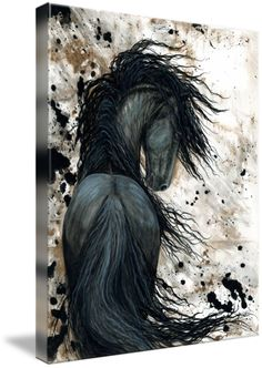 """""""Majestic Friesian Horse """" by AmyLyn Bihrle, New York // Majestic Series of my original horse paintings. Contact me at wildhorses@nycap.rr.com for inquiries on original paintings or commission requests. // Imagekind.com -- Buy stunning fine art prints, framed prints and canvas prints directly from independent working artists and photographers."""