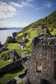 Urquhart Castle on shore of Loch Ness
