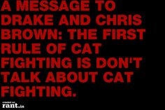 A MESSAGE TO DRAKE AND CHRIS BROWN: THE FIRST RULE OF CAT FIGHTING IS DON'T TALK ABOUT CAT FIGHTING. | A rant by RufustheRantCat on Rant.in