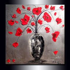 """Blooming Poppies Original Contemporary Textured Floral Painting on canvas by Henry Parsinia 30"""" ready to hang on Etsy, $550.00"""
