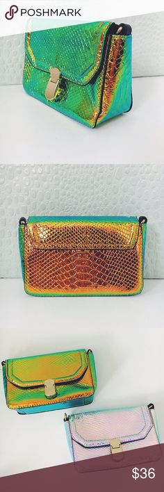 New! Green Gold Metallic Hologram Mermaid Handbag NWT Boutique Item, Just in! This hologram vegan leather handbag features a Versatile silhouette (crossbody, clutch, shoulder bag), Metallic iridescent snake skin like fabric, gold chain shoulder strap, lining, gold hardware, and one inside non zip pocket. Height Measurements: 7 x 4.5 x 2.5 inches, Shoulder Strap: Not Adjustable, but detachable so it can become a clutch. Material: Vegan Leather, Alloy (PU). Also available in silver. Bags…
