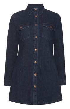 Dark Blue Denim Button Up Dress