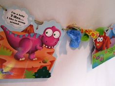 Gifts for Teachers Dinosaur Board Book Banner or Custom Made to Order Banner Teacher Classroom Decor made from Pages of Board Books