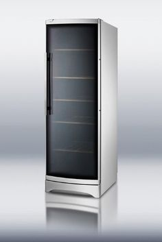 Summit Commercial Series SWC1735C 24 Freestanding Wine Cellar 120-Bottle Capacity Commercially approved for use in foodservice establishments. Curved glass door with double tempered design and elegant tint. Reduced maintenance with automatic defrost. Wooden shelves offer stable bottle storage with a classic look.  #Summit #Kitchen