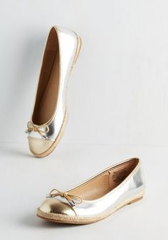 All for Fun, Fun for All Flat in Metallic - Flat, Faux Leather, Solid, Bows, Casual, Good, Espadrille, Variation, Silver, Gold