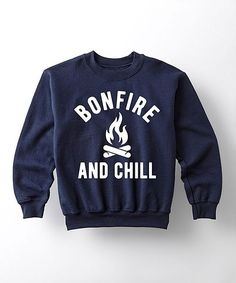 Navy 'Bonfire and Chill' Crewneck Sweatshirt - Kids