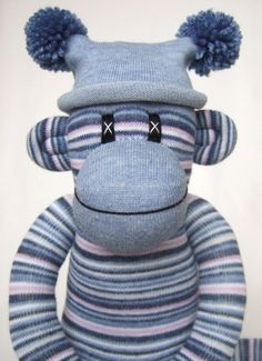 Blue Pin Striped Sock Monkey made to order. via Etsy.