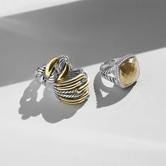 Silver and gold are perfectly paired in signature rings from @davidyurman. #mccaskillandcompany