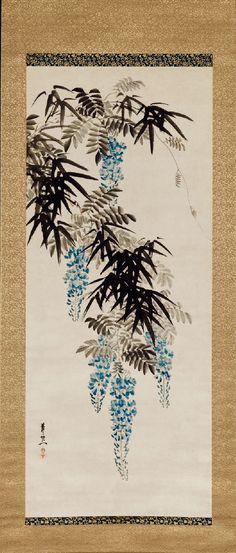 Wisteria and Bamboo. Suzuki Kiitsu. 1840s - 1850s. Japanese hanging scroll. Museum of Fine Arts, Boston