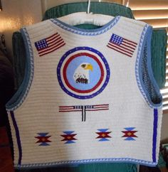 NATIVE BEAD WORK VEST OF AMERICAN FLAGS EAGLE This is a full adult sized vest and measurements are to follow. This is fully beaded and is heavy, taking 17 years to complete as the maker had time to work on this occasionally. | eBay!